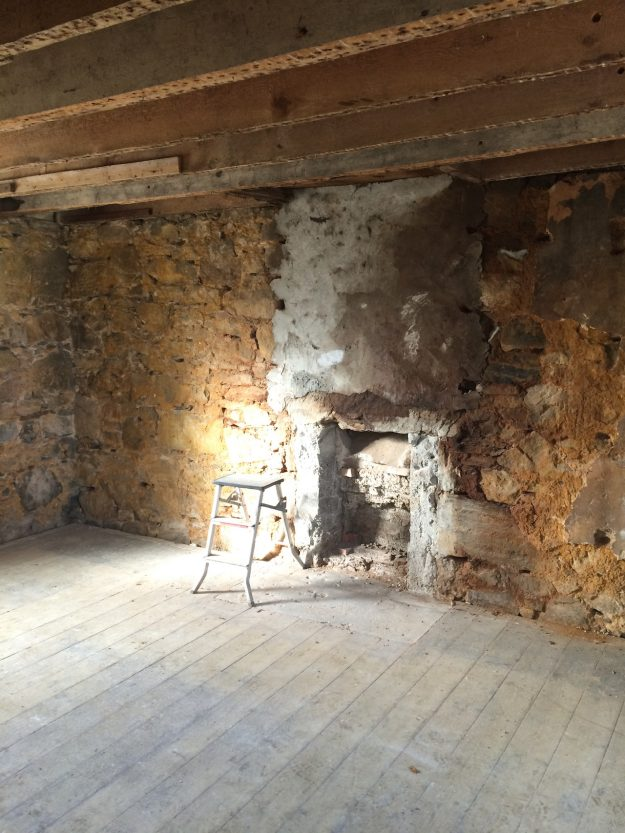 Tigharry Schoolhouse About interior fireplace